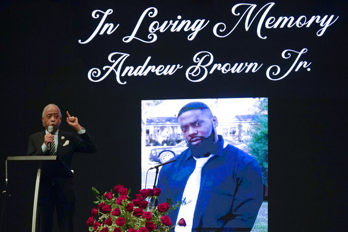 FILE - In this May 3, 2021, file photo Rev. Al Sharpton speaks during the funeral for Andrew Brown Jr., at Fountain of Life Church in Elizabeth City, N.C.  The family of Brown, an unarmed Black man who was fatally shot by sheriff's deputies in North Carolina, filed a $30 million civil rights lawsuit on Wednesday July 14.  Brown was killed April 21 by Pasquotank County Sheriff's deputies while they were serving drug-related warrants at his Elizabeth City home. (AP Photo/Gerry Broome, File)