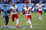 Kansas City Chiefs wide receiver Mecole Hardman (17) scores a touchdown on a 63-yard pass against the Tennessee Titans in the second half of an NFL football game Sunday, Nov. 10, 2019, in Nashville, Tenn. (AP Photo/James Kenney)