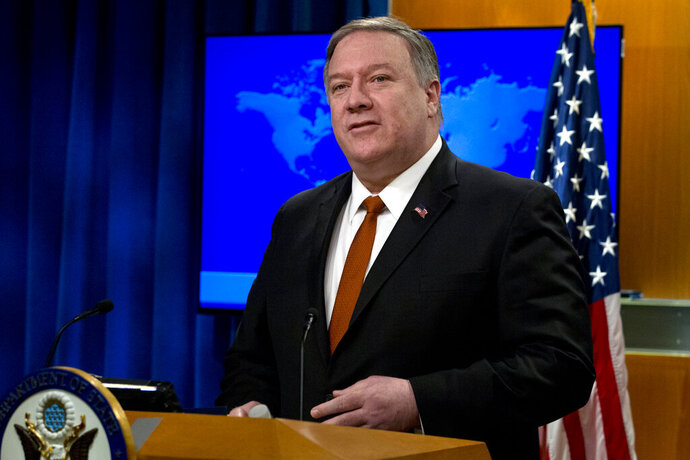 Secretary of State Mike Pompeo speaks during the release of the 2018 Country Reports on Human Rights Practices at the Department of State in Washington, Wednesday, March 13, 2019. (AP Photo/Jose Luis Magana)