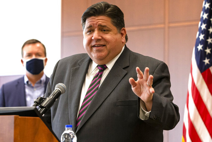 FILE - In this Sept. 21, 2020, file photo, Illinois Gov. J.B. Pritzker speaks in Springfield, Ill. Coronavirus cases shot up again Tuesday, Dec. 1, 2020 to 12,542, the highest in 11 days, and there were 125 deaths, Illinois public health officials reported.(Justin L. Fowler/The State Journal-Register via AP File)