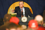 FILE - In this Oct. 2, 2018 file photo, Montana auditor and Republican U.S. Senate candidate Matt Rosendale speaks during a rally at the Gallatin County Fairgrounds, in Bozeman, Mont. Political observers say a key factor in deciding the outcome of Montana's high-profile Senate race will be whether independent women who voted for Trump in 2016 stick with the president and support Rosendale this year. Democratic leaders and advocacy groups say women are highly motivated to vote in the Nov. 6 election with absentee ballots being mailed out on Friday, Oct. 12, 2018. (Rachel Leathe/Bozeman Daily Chronicle via AP, File)