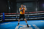 Nico Ali Walsh trains at Top Rank Gym, Monday, July 12, 2021, in Las Vegas, Nev. Walsh, 21, and a boxing great Muhammad Ali, is ready for his boxing career to truly take off. Last month he signed with Top Rank, a locally headquartered promotional company, to end his amateur career and turn pro in the middleweight division. (Wade Vandervort/Las Vegas Sun via AP)