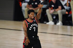 Toronto Raptors' Kyle Lowry (7) reacts during the first half of an NBA conference semifinal playoff basketball game against the Boston Celtics Saturday, Sept. 5, 2020, in Lake Buena Vista, Fla. (AP Photo/Mark J. Terrill)