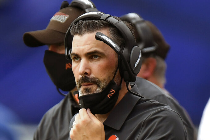 FILE - Cleveland Browns head coach Kevin Stefanski looks on in the first half during an NFL football game against the Baltimore Ravens, Sunday, Sept. 13, 2020, in Baltimore. Stefanski didn't need long to be lumped together with so many Browns coaches before him. One game into his tenure, he's 0-1, being criticized for a head-scratching decision and faced with a lengthy list of problems. The Ravens beat the Browns  38-6. (AP Photo/Terrance Williams, File)
