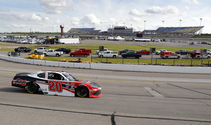 Christopher Bell races his car during a NASCAR Xfinity Series auto race, Sunday, June 16, 2019, at Iowa Speedway in Newton, Iowa. (AP Photo/Charlie Neibergall)