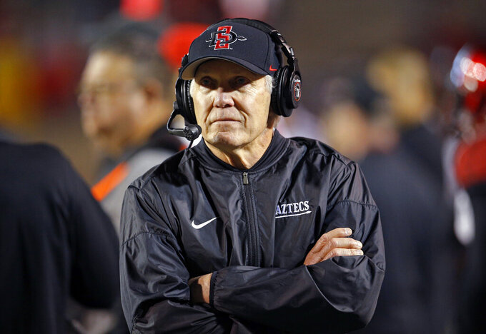 FILE - In this Nov. 3, 2018, file photo, San Diego State coach Rocky Long walks the sideline during the first half of the team's NCAA college football game against New Mexico in Albuquerque, N.M. San Diego State faces Nevada at home this week. It's the second of four straight games against conference rivals that beat the Aztecs last year. (AP Photo/Andres Leighton, File)