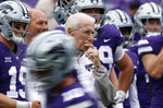 FILE - In this Sept. 29, 2018, file photo, Kansas State head coach Bill Snyder watches his team warm up before a college football game against Texas in Manhattan, Kan. Kansas State  is coming off a win over Oklahoma State, but the Wildcats go to No. 8 Oklahoma as a more than three-touchdown underdog.  (AP Photo/Colin E. Braley, File)