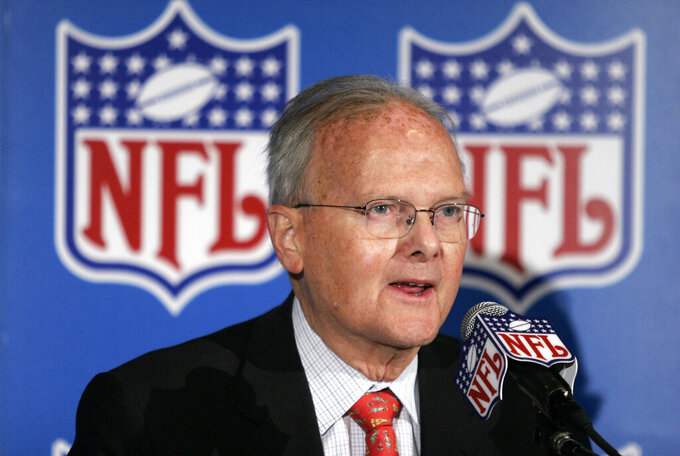 FILE - In this Nov. 16, 2005, file photo, Kansas City Chiefs owner Lamar Hunt talks to the media after NFL Commissioner Paul Tagliabue announced that Kansas City, Mo., was selected to host a Super Bowl, in Kansas City, Mo. Hunt was a champion of Black rights during the Civil Rights era of the 1960s. He grew up in conservative circles yet formed his own opinions of right and wrong. And when his football-loving son was born in 1965, those principles that Hunt instilled in his football franchise became instilled in Clark, who years later would succeed him as chairman of the Chiefs. (AP Photo/Ed Zurga, File)