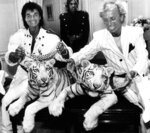 FILE - In this June 4, 1987, file photo, Las Vegas magicians Roy Horn, left, and Siegfried Fischbacher pose in New York, with their rare white tigers, Neva, left, a female, and Vegas, a male, during a stop at Van Cleef & Arpels jewelry before their departure for Germany. Horn, one half of the longtime Las Vegas illusionist duo Siegfried & Roy, died of complications from the coronavirus, Friday, May 8, 2020. He was 75. (AP Photo/Scott McKiernan, File)