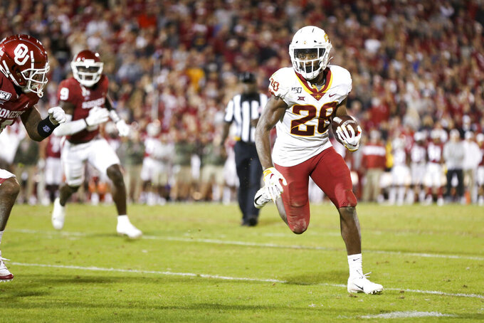 Iowa State Cyclones running back Breece Hall (28) runs the ball during the NCAA football game between the against the Iowa State Cyclones and the Oklahoma Sooners at Gaylord Family-Oklahoma Memorial Stadium in Norman, Okla., on Saturday, Nov. 9, 2019. (Ian Maule/Tulsa World via AP)
