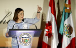 Ambassador of Mexico to the U.S., Martha Barcena, gives a thumbs up at the 2019 Arizona-Mexico Commission Governor's Luncheon, as she speaks in front of Arizona Gov. Doug Ducey Tuesday, March 19, 2019, in Phoenix. (AP Photo/Ross D. Franklin)