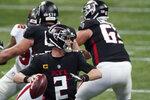 Atlanta Falcons quarterback Matt Ryan (2) works in the pocket against the Tampa Bay Buccaneers during the first half of an NFL football game, Sunday, Dec. 20, 2020, in Atlanta. (AP Photo/John Bazemore)