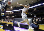 Vanderbilt forward Yanni Wetzell saves the ball from going out of bounds in the second half of an NCAA college basketball game against UNC Asheville, Monday, Dec. 31, 2018, in Nashville, Tenn. (AP Photo/Mark Humphrey)