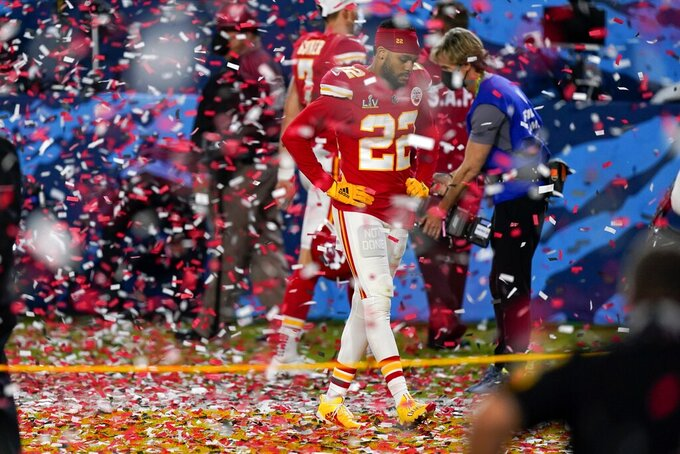 Kansas City Chiefs free safety Juan Thornhill leaves the field after the NFL Super Bowl 55 football game against the Tampa Bay Buccaneers, Sunday, Feb. 7, 2021, in Tampa, Fla. The Buccaneers defeated the Chiefs 31-9 to win the Super Bowl. (AP Photo/Mark Humphrey)