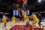 Arizona State guard Rob Edwards (2) drives to the basket against Southern California during the first half of an NCAA college basketball game Saturday, Feb. 29, 2020, in Los Angeles. (AP Photo/Marcio Jose Sanchez)