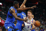 Detroit Pistons guard Luke Kennard (5) looks to pass during the first half of an NBA basketball game against the Orlando Magic, Monday, Nov. 25, 2019, in Detroit. (AP Photo/Carlos Osorio)