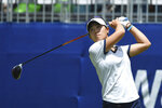 Danielle Kang watches her tee shot off the first hole during the final round of the LPGA Walmart NW Arkansas Championship golf tournament, Sunday, June 30, 2019, in Rogers, Ark. (AP Photo/Michael Woods)