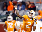 Tennessee quarterback Jarrett Guarantano (2) throws to a receiver during warmups before an NCAA college football game against UAB, Saturday, Nov. 2, 2019, in Knoxville, Tenn. (AP Photo/Wade Payne)