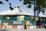 KeyArena, which is currently undergoing a complete renovation, is shown Thursday, June 25, 2020, in Seattle. Amazon has bought the naming rights to the arena, which will host a new NHL hockey team and the WNBA Basketball Seattle Storm, and will call the facility Climate Pledge Arena. (AP Photo/Ted S. Warren)