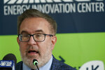 Andrew Wheeler, the EPA Administrator, speaks about the rollback of the 2016 methane emissions rules to undo Obama-era rules designed to limit greenhouse gas emissions from oil and gas fields and pipelines at the Energy Innovation Center Thursday, Aug. 13, 2020, in Pittsburgh. (AP Photo/Keith Srakocic)