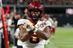Iowa State wide receiver Xavier Hutchinson (8) celebrates after scoring against UNLV during the first half of an NCAA college football game Saturday, Sept. 18, 2021, in Las Vegas. (AP Photo/John Locher)