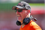 Idaho State head coach Rob Phenicie shouts in the first half of an NCAA college football game against Utah Saturday, Sept. 14, 2019, in Salt Lake City. (AP Photo/Rick Bowmer)
