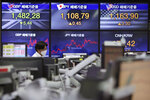 A currency trader watches monitors at the foreign exchange dealing room of the KEB Hana Bank headquarters in Seoul, South Korea, Wednesday, Sept. 23, 2020. Asian markets were mostly lower on Wednesday as investors kept a wary eye on how the coronavirus pandemic will affect the economic outlook.(AP Photo/Ahn Young-joon)