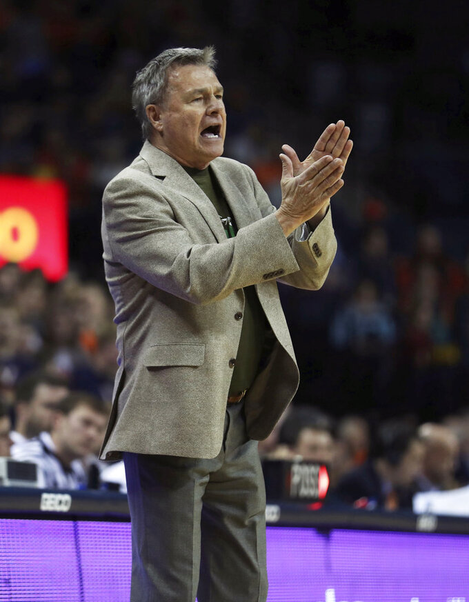 Marshall head coach Dan D'Antoni reacts in the first half of an NCAA college basketball game against Virginia on Monday, Dec. 31, 2018, in Charlottesville, Va. (AP Photo/Zack Wajsgras)