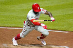 Philadelphia Phillies' Andrew McCutchen gets out of the way of an inside pitch from Pittsburgh Pirates starting pitcher Wil Crowe during the sixth inning of a baseball game in Pittsburgh, Friday, July 30, 2021. (AP Photo/Gene J. Puskar)