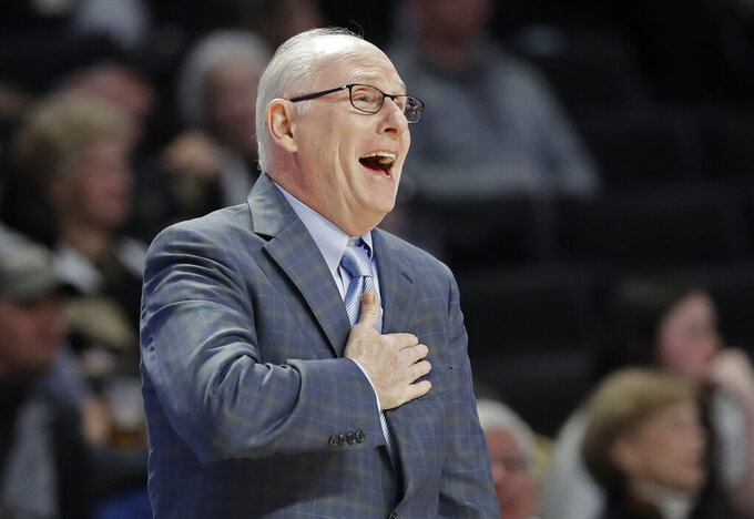 Miami head coach Jim Larranaga directs his team against Wake Forest during the first half of an NCAA college basketball game in Winston-Salem, N.C., Tuesday, Feb. 26, 2019. (AP Photo/Chuck Burton)