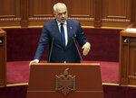 Albanian Prime Minster Edi Rama speaks during a parliament session in Tirana, Monday, July 8, 2019. Albania's parliament has created an investigative commission to oust President Ilir Meta for allegedly violating the constitution with his attempt to cancel upcoming municipal elections. (AP Photo)