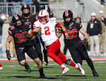 Nebraska quarterback Adrian Martinez cuts upfield against Ohio State during the first half of an NCAA college football game Saturday, Nov. 3, 2018, in Columbus, Ohio. (AP Photo/Jay LaPrete)