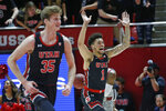 Utah forward Timmy Allen (1) celebrates as he runs upcourt after scoring against Stanford in the first half during an NCAA college basketball game Thursday, Feb. 6, 2020, in Salt Lake City. (AP Photo/Rick Bowmer)