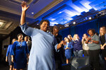 FILE - In this Tuesday, Nov. 6, 2018 file photo, Georgia Democratic gubernatorial candidate Stacey Abrams leaves the stage after addressing supporters during an election night watch party in Atlanta. She centered her campaign on women of color. In the election, more than 51,000 Black women in Cobb County cast ballots, a number typical for presidential election years but spectacular for midterms, eclipsing the turnout of the 2014 midterm by nearly 20,000 votes. (AP Photo/John Amis)