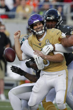 AFC defensive end Calais Campbell, of the Jacksonville Jaguars, (93) sacks NFC quarterback Kirk Cousins, of the Minnesota Vikings, and fumbles the ball, during the second half of the NFL Pro Bowl football game, Sunday, Jan. 26, 2020, in Orlando, Fla. (AP Photo/John Raoux)