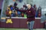 Minnesota head coach P.J. Fleck reacts during an NCAA college football game against Minnesota, Saturday, Nov. 17, 2018, in Minneapolis. Northwestern won 24-14. (AP Photo/Stacy Bengs)