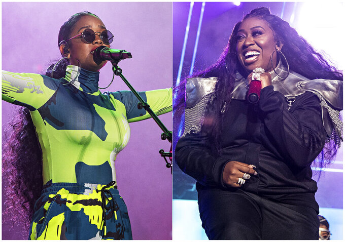 This combination photo shows H.E.R. performing at the 2019 Essence Festival in New Orleans on July 6, 2019, left, and Missy Elliott performing at the 2019 Essence Festival on July 5, 2019. The pair will appear in a new Pepsi commercial that will debut for the Super Bowl. (Photo by Amy Harris/Invision/AP)