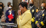 Atlanta Mayor Keisha Lance Bottoms speaks during a news conference, Friday, May 7, 2021, in Atlanta. Bottoms said Friday she has wrestled since her first year in office with whether to seek a second term, and this week she made a final decision to step aside even as she insisted she doesn't know what she'll do next. (John Spink/Atlanta Journal-Constitution via AP)