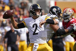 Pittsburgh Steelers quarterback Mason Rudolph (2) passes against the San Francisco 49ers during the first half of an NFL football game in Santa Clara, Calif., Sunday, Sept. 22, 2019. (AP Photo/Tony Avelar)