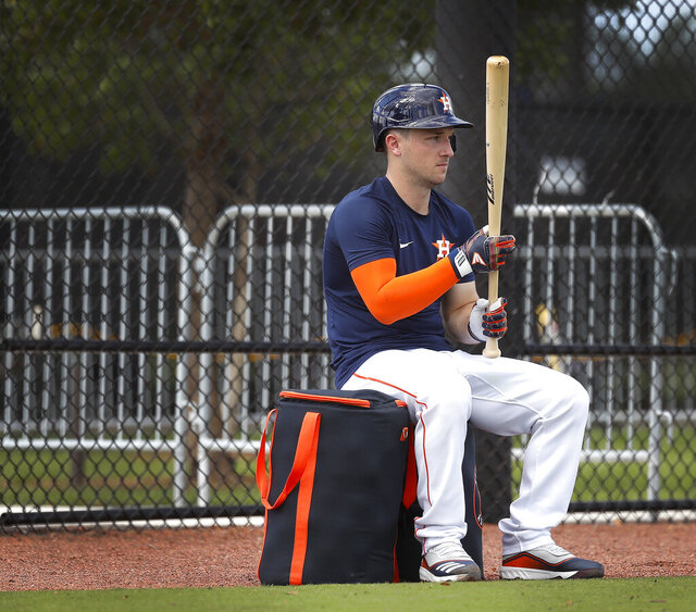 Houston Astros infielder Alex Bregman prepares to face Josh James as James pitched a live batting practice during baseball spring training Wednesday, Feb. 19, 2020, in West Palm Beach, Fla. (Karen Warren/Houston Chronicle via AP)