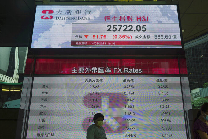 A woman walks past a bank's electronic board showing the Hong Kong share index at Hong Kong Stock Exchange in Hong Kong Tuesday, Sept. 14, 2021. Asian stock markets were mixed Tuesday as investors waited for an update on U.S. inflation that has been stronger than expected. (AP Photo/Vincent Yu)