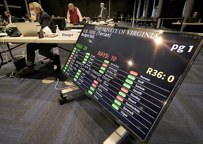 The budget bill, HB1800 was approved by a vote of 29-10 during the floor session of the Virginia Senate, which is meeting inside the Science Museum of Virginia in Richmond, Va., Saturday, Feb. 27, 2021. (Bob Brown/Richmond Times-Dispatch via AP)