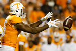 Tennessee wide receiver Jauan Jennings (15) takes a direct snap during a NCAA football game agaisnt BYU at Neyland Stadium on Saturday, Sept. 7, 2019 in Knoxville, Tenn.(C.B. Schmelter/Chattanooga Times Free Press via AP)