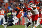 Denver Broncos outside linebacker Von Miller (58) battles Kansas City Chiefs offensive tackle Cameron Erving (75) during the second half of an NFL football game, Thursday, Oct. 17, 2019, in Denver. (AP Photo/David Zalubowski)