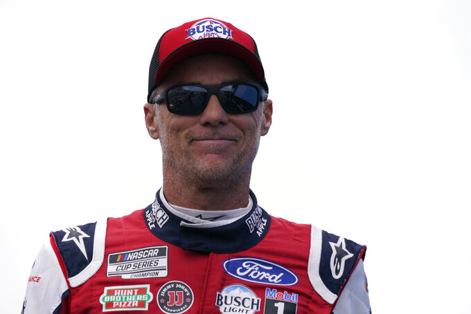 Kevin Harvick at a NASCAR Cup Series auto race, Sunday, July 18, 2021, in Loudon, N.H. (AP Photo/Charles Krupa)