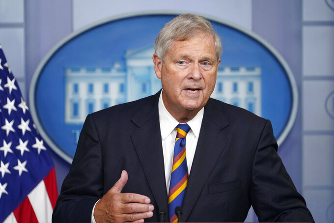 Agriculture Secretary Tom Vilsack speaks during the daily briefing at the White House in Washington, Wednesday, Sept. 8, 2021. (AP Photo/Susan Walsh)