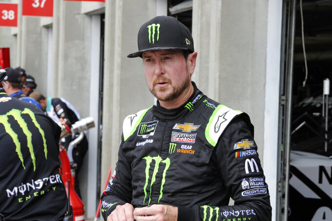 Kurt Busch waits during practice for Sunday's NASCAR Cup Series auto race at Charlotte Motor Speedway in Concord, N.C., Saturday, Sept. 28, 2019. (AP Photo/Mike McCarn)