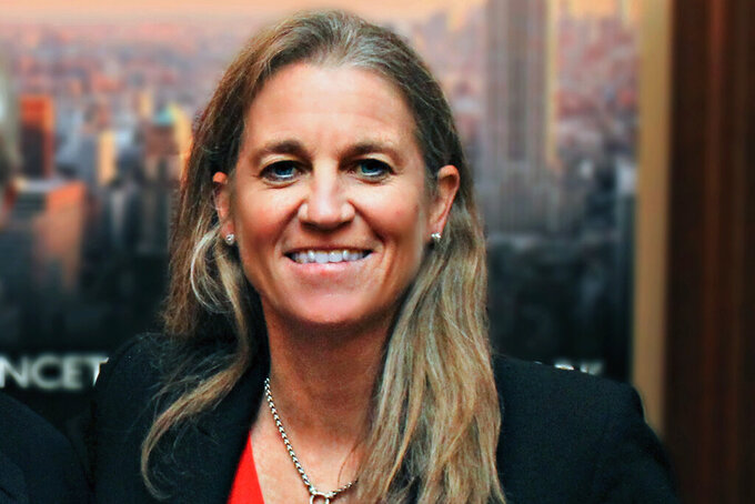This photo provided by Princeton University shows Princeton athletics director Mollie Marcoux Samaan. The LPGA Tour chose Samaan as its commissioner Tuesday, May 25, 2021, the second woman to lead the tour since its formation in 1950. The LPGA said she would spend the coming months transitioning from Princeton to the LPGA. (Courtesy of Princeton University via AP)