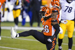 Cincinnati Bengals' Josh Bynes (56) reacts after a tackle during the second half of an NFL football game against the Pittsburgh Steelers, Monday, Dec. 21, 2020, in Cincinnati. (AP Photo/Michael Conroy)