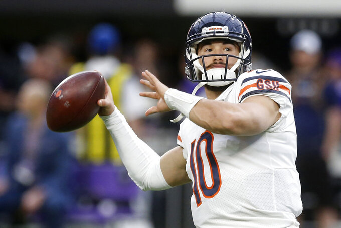 Chicago Bears quarterback Mitchell Trubisky warms up before an NFL football game against the Minnesota Vikings, Sunday, Dec. 30, 2018, in Minneapolis. (AP Photo/Jim Mone)